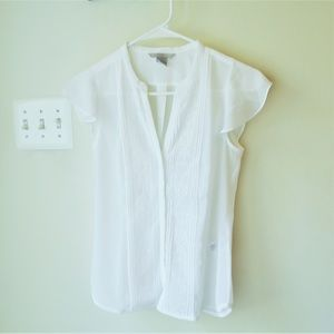 H&M Flutter Sleeve Top White Size 2